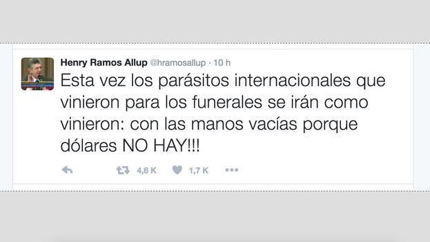 """Tuit de Henry Ramos Allup, en el que tildó  de """"parásitos"""" a los presidentes y primeros ministros que asistieron a los homenajes al presidente Hugo Chávez. (Twitter)"""