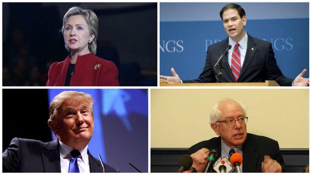 Hillary Clinton, Marco Rubio, Donald Trump y Bernie Sanders.