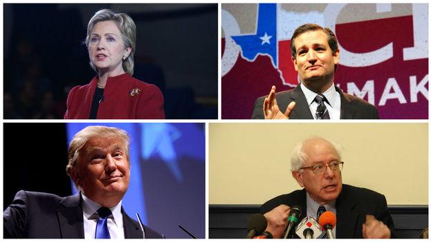 Hillary Clinton, Ted Cruz, Donald Trump y Bernie Sanders.