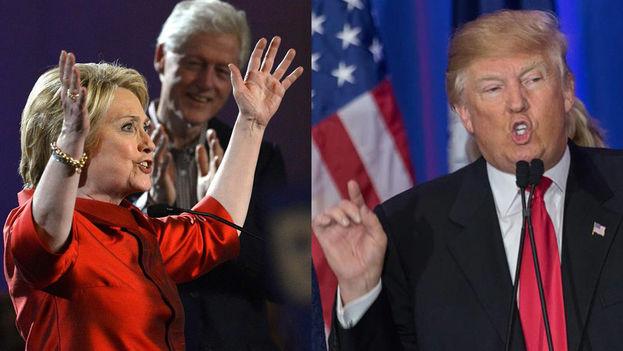 Hillary Clinton y Donald Trump, contendientes en la carrera a la presidencia de EE UU.
