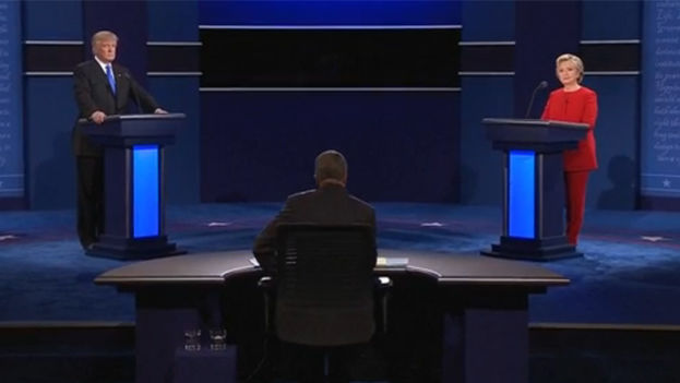 Los candidatos Hillary Clinton y Donald Trump en el primer debate presidencial de esta campaña en Estados Unidos. (CC)