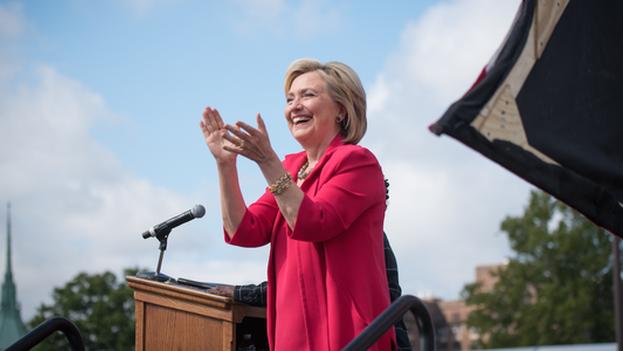 Hillary Clinton durante un acto de campaña el pasado 28 de agosto. (@HillaryClinton)