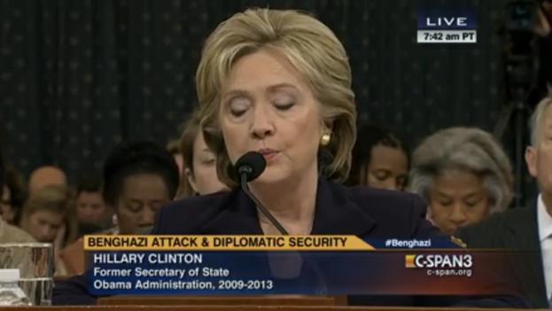 Hillary Clinton durante su comparecencia del jueves por el ataque contra el consulado estadounidense en Bengasi