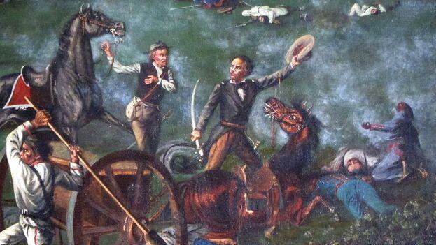 Sam Houston en la batalla de San Jacinto. (Obra de de Henry Arthur McArdle, 1898)
