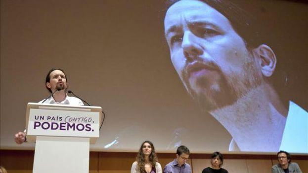 Pablo Iglesias, candidato de Podemos a la presidencia del Gobierno de España, durante un mitin. (EFE)