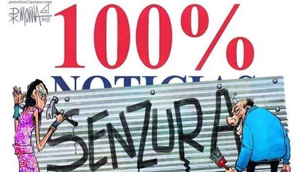 Ilustración de Pedro Molina en denuncia de la censura contra el canal '100% Noticias'. (Pedro X. Molina)