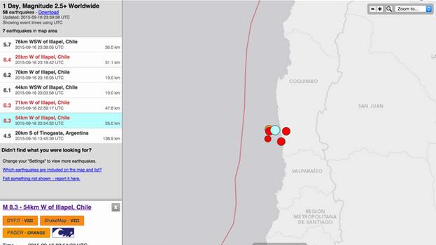 Imagen distribuida por la USGS que muestra el epicentro del terremoto en Chile. (@USGS)