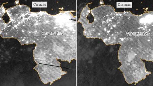 Imágenes por satélite de Venezuela antes y después del apagón. (BBC)