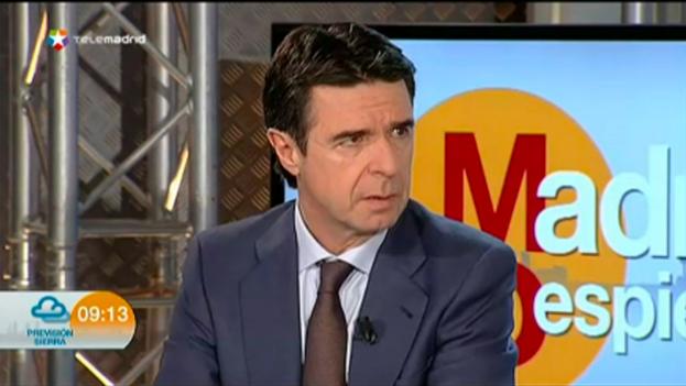 El ministro de Indstria español, José Manuel Soria, durante su intervención en el programa Madrid Despierta, del canal autonómico Telemadrid