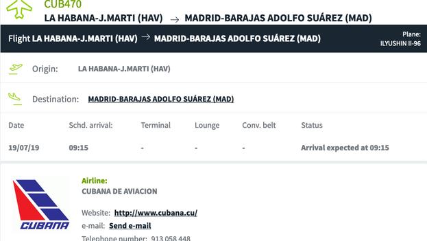 Información del vuelo de Cubana el jueves, antes de la hora de salida programada.