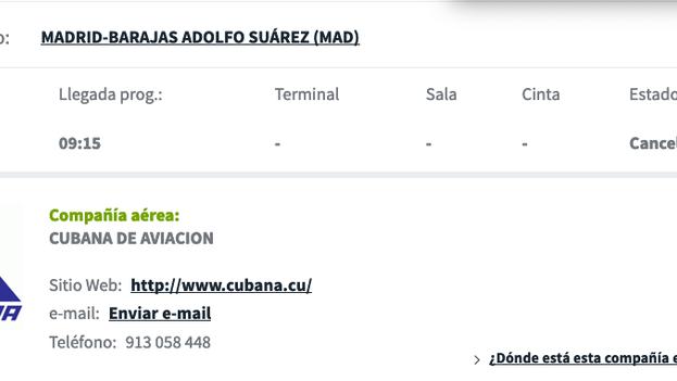 Información del vuelo de Cubana el viernes por la mañana, anunciando su cancelación.