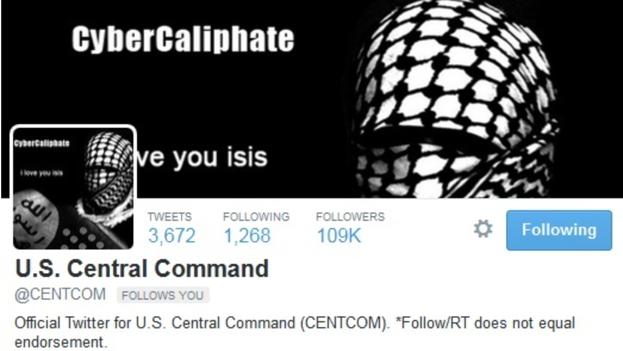 Intervención en la cuenta de Twitter del Comando Central de los EE UU