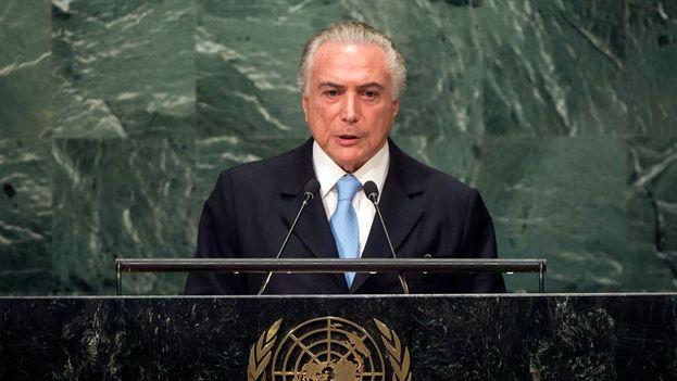 Intervención de Michel Temer ante la Asamblea General de la ONU este martes. (@ONUBrasil)