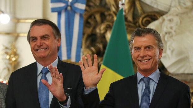 Jair Bolsonaro en la Casa Rosada junto a Mauricio Macri. (@mauriciomacri)