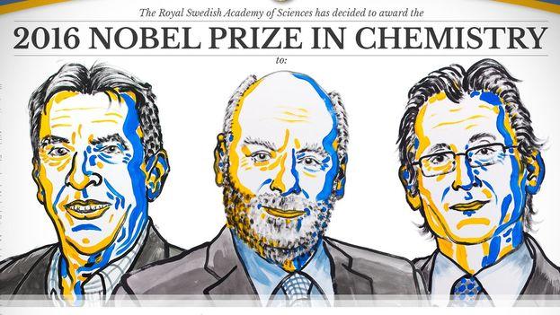Los ganadores del Nobel de química 2016 son el francés Jean-Pierre Savage, el británico J.Fraser Stoddart y el holandés Bernard L. Feringa. (@NobelPrize)