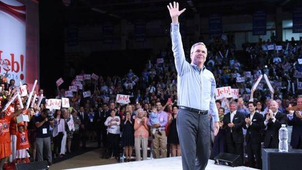 Jeb Bush durante el acto de campaña de este lunes en Florida. (@JebBush)