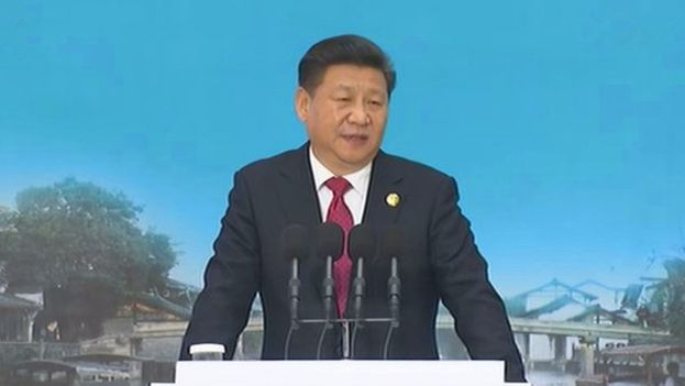Xi Jinping en su discurso de apertura de la II Conferencia Mundial de Internet. (@xinhua)