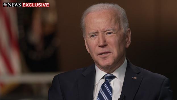 El presidente Joe Biden, durante su entrevista a 'ABC News'. (Captura)