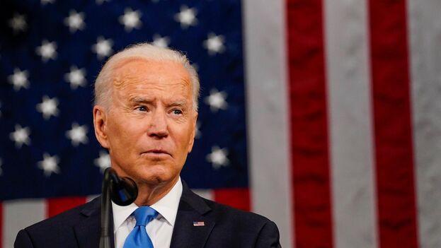 Joe Biden durante su discurso por los cien primeros días de mandato. (Melina Mara/ EFE)