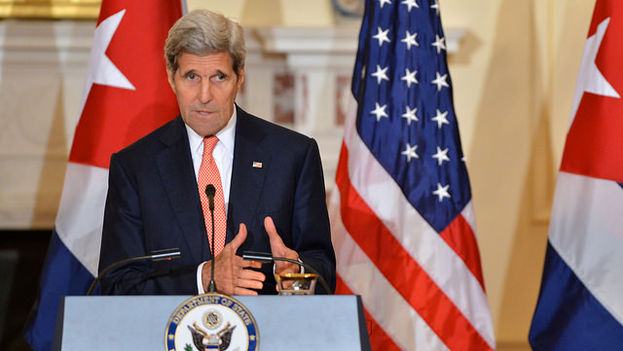 El secretario de Estado estadounidense, John Kerry, en su rueda de prensa de este lunes 20 de julio. (Flickr/US Department of State)