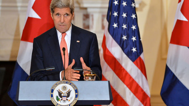 El secretario de Estado estadounidense, John Kerry, en su rueda de prensa de este lunes 20 de julio. (Flickr/US Department of State)