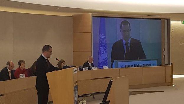 Jorge Arreaza defendió próximas las elecciones presidenciales este lunes en Ginebra. (@CancilleriaVE)