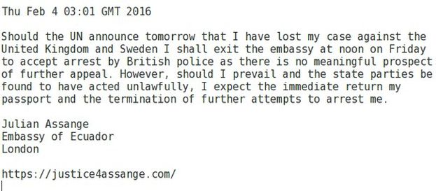 Tuit de Julian Assange aceptando su salida de la embajada y posterior arresto si la ONU dice que ha perdido la batalla legal contra Reino Unido y Suecia. (@wikileaks)