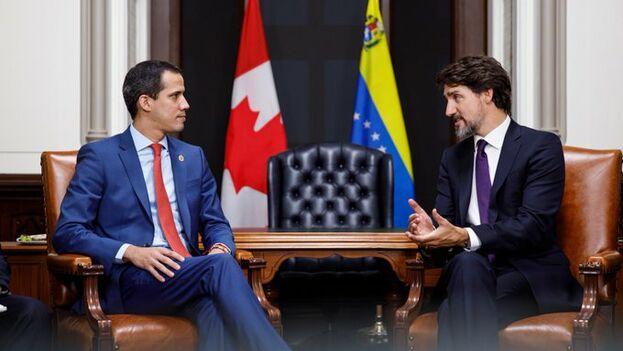Justin Trudeau, primer ministro canadiense, se reunió con Juan Guaidó la noche de este lunes para trasladarle su apoyo. (JustinTrudeau)