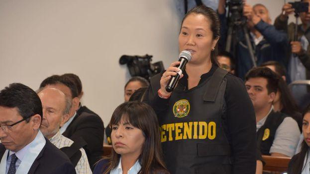 Keiko Fujimori durante la audiencia en la que se decidía sobre su apelación. (@Poder_Judicial_)