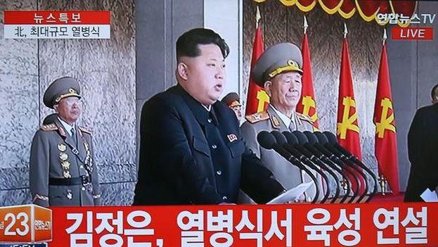 Kim Jong Un, durante su intervención. | EFE