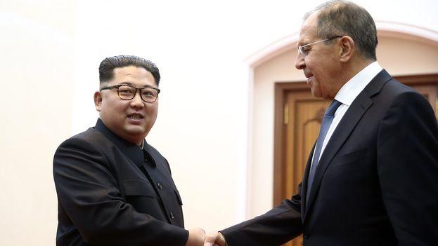 Lavrov en su encuentro con Kim este jueves en Pyongyang. (DPRK)