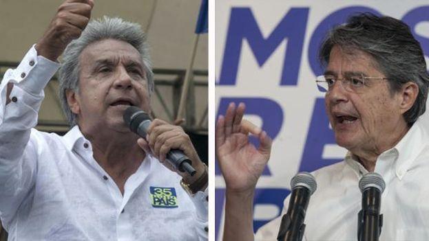 El candidato oficialista Lenín Moreno y el opositor Guillermo Lasso. (EFE)