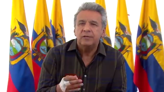 Lenín Moreno se dirige a los ciudadanos en su informe para pedirles una campaña pacífica para la consulta del próximo domingo. (@Lenin)