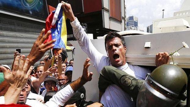 El opositor venezolano Leopoldo López en una manifestación. (@leopoldolopez)