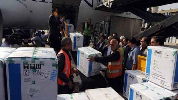 Llegada de cargamento de medicinas a Siria. (SANA)