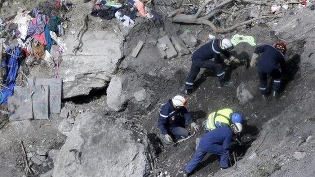 Localización de restos en la zona de los Alpes en que fue estrellado el avión de Germanwings. (Ministère de l'Intérieur)