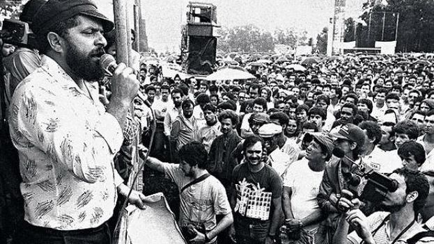 Lula da Silva en su época de sindicalista, en 1979, poco antes de ser detenido. (Archivo)