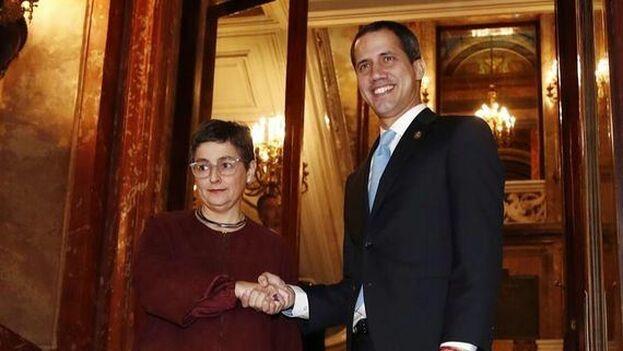 Juan Guaidó estuvo en Madrid y se reunió con la ministra de Exteriores, Arancha González Laya. (EFE)
