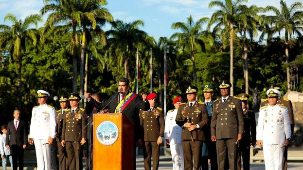 Maduro cargó contra Iván Duque este lunes durante un acto por los 198 años de la Batalla y Victoria de Carabobo. (Nicolás Maduro)