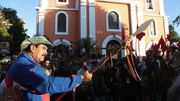 Maduro asistió este domingo a la celebración del natalicio de Ezequiel Zamora. (Prensa Presidencial/Twitter)