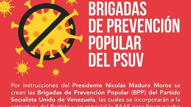 Maduro encargó a Vivas, en su calidad de líder del PSUV, que organice brigadas médicas compuestas por sus copartidarios para localizar a enfermos de covid-19. (PSUV)