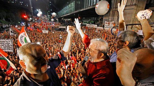 Manifestación a favor de Lula el pasado viernes 18 de marzo en