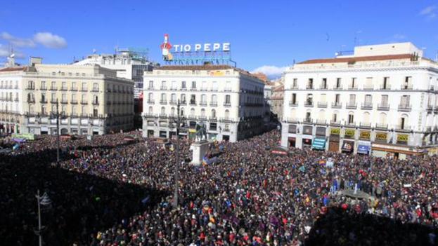 Manifestación de Podemos en Madrid (Maria Frias/Twitter)