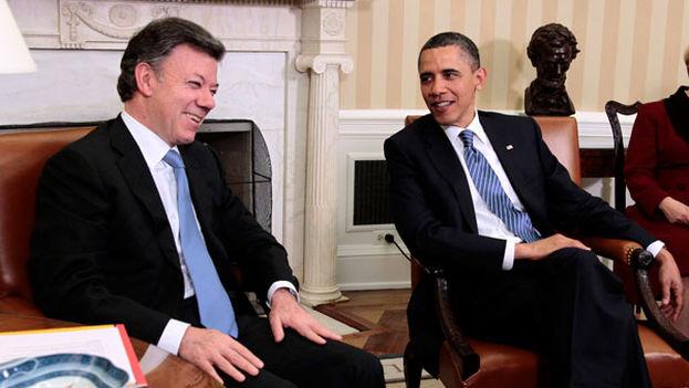 Juan Manuel Santos y Barack Obama durante un encuentro en la Casa Blanca. (CC)