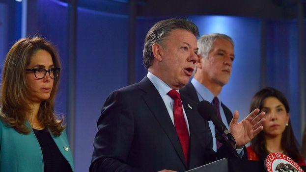 Juan Manuel Santos este martes en un encuentro de Educación en Colombia. (@JuanManSantos)