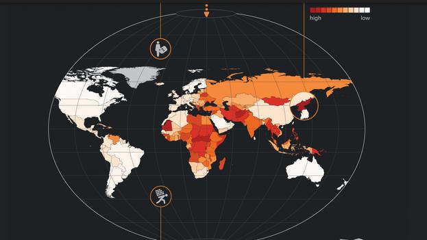 Mapa global de la esclavitud moderna según datos de la organización Walk Free en 2016.