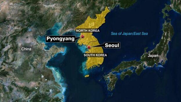 Mapa del lanzamiento de misiles norcoreanos este jueves