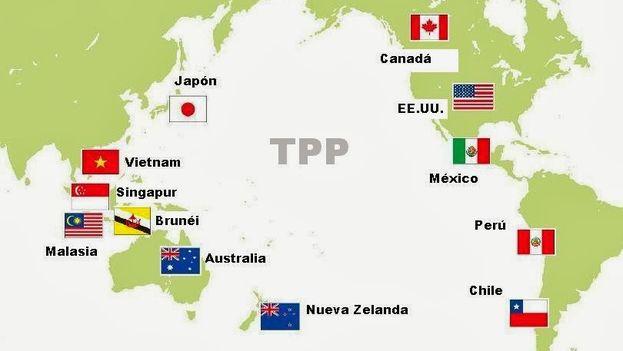 Mapa de países que participan en el TPP.