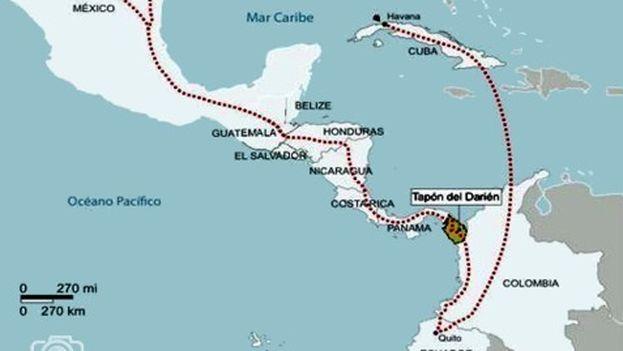 Mapa con la ruta de las migraciones de los cubanos. (Reportero24)