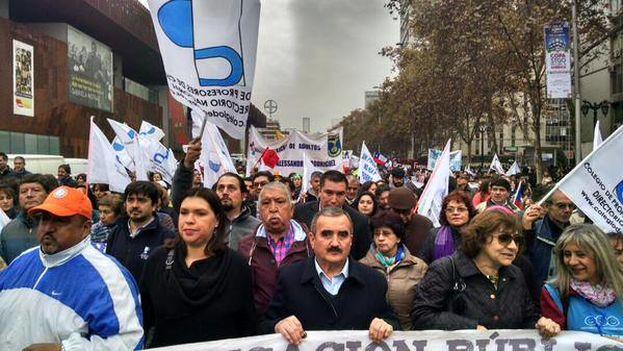 Marcha de docentes en Santiago de Chile. (Facebook / Magisterio Nacional)